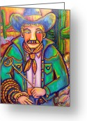 Denim Jacket Greeting Cards - Cowboy Roy Greeting Card by Ilene Richard