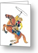 Cowboy Pencil Drawing Greeting Cards - Cowboy with Lasso Greeting Card by Glenda Zuckerman
