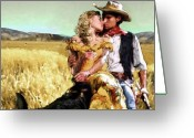 Hat Greeting Cards - Cowboys Romance Greeting Card by Mike Massengale