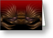 Shell Texture Painting Greeting Cards - Crab Greeting Card by Christopher Gaston