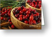 Wooden Bowls Greeting Cards - Cranberries in bowls Greeting Card by Elena Elisseeva
