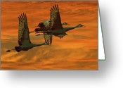 Sandhill Greeting Cards - Cranes At Sunrise Greeting Card by Larry Linton