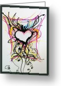 Drawing Pastels Greeting Cards - Crazy Heart Greeting Card by Jon Veitch