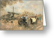 Old Fashioned Painting Greeting Cards - Cream Cracker MG 4 Spitfires  Greeting Card by Peter Miller