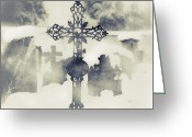 Thriller Greeting Cards - Cross Greeting Card by Joana Kruse