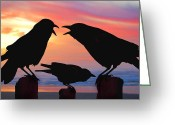 Oregon Wildlife Digital Art Greeting Cards - Crows Being Crows Greeting Card by Alice Martin