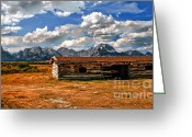 Grand Teton Panoramic Greeting Cards - Cunningham Cabin III  Greeting Card by Robert Bales