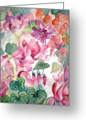 Peace Drawings Greeting Cards - Cyclamen Greeting Card by Mindy Newman