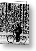 Cycling Greeting Cards - Cycling Silhouette Greeting Card by Carlos Caetano