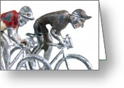 Cyclist Greeting Cards - Cyclists Greeting Card by Bernard Jaubert