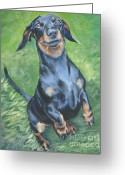 Short Greeting Cards - Dachshund Greeting Card by Lee Ann Shepard