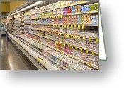 Selection Greeting Cards - Dairy Aisle in a Grocery Store Greeting Card by David Buffington