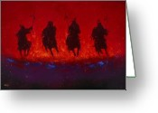 Riders Greeting Cards - Dakota Thunder Greeting Card by Donald Brewer