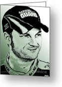 Dale Earnhardt Jr Greeting Cards - Dale Earnhardt Jr in 2009 Greeting Card by J McCombie