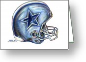 Colored Pencil Greeting Cards - Dallas Cowboys Helmet Greeting Card by James Sayer