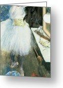 Young Pastels Greeting Cards - Dancer in her dressing room Greeting Card by Edgar Degas
