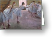 Tutus Pastels Greeting Cards - Dancers at Rehearsal Greeting Card by Edgar Degas