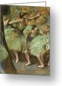 Tutus Pastels Greeting Cards - Dancers Greeting Card by Edgar Degas