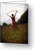 Mountain Texture Greeting Cards - Dancing Greeting Card by Joana Kruse