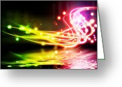 Fluorescence Greeting Cards - Dancing Lights Greeting Card by Setsiri Silapasuwanchai