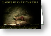 Daniel Sculpture Greeting Cards - Daniel In The Lions Den Info Photo No.1  Greeting Card by Phillip H George