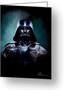 Movie Poster Greeting Cards - Darth Vader Star Wars  Greeting Card by Michael Greenaway