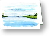 Canals Painting Greeting Cards - Davis Bayou Ocean Springs Mississippi Greeting Card by Paul Gaj