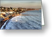 Sea Wall Greeting Cards - Dawlish Sea wall Greeting Card by Rob Hawkins
