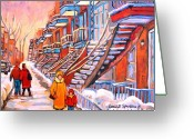 Stair Walk Greeting Cards - Debullion Street Winter Walk Greeting Card by Carole Spandau