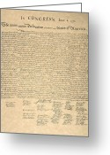 Autograph Greeting Cards - Declaration Of Independence Greeting Card by Granger