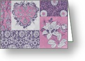 Carpet Painting Greeting Cards - Deco Heart Pink Greeting Card by JQ Licensing