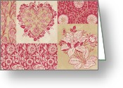 Carpet Painting Greeting Cards - Deco Heart Red Greeting Card by JQ Licensing
