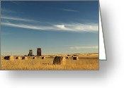 Elevators Greeting Cards - Derelict Grain Elevators Stand Greeting Card by Pete Ryan