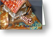 Brick Ceramics Greeting Cards - DETAIL House that Fell on Wicked Witch Treasure Chest Greeting Card by Chere Force