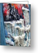 Icebergs Tapestries - Textiles Greeting Cards - Detail of Winter Greeting Card by Kimberly Simon