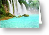 Green Day Greeting Cards - Detian waterfall Greeting Card by MotHaiBaPhoto Prints