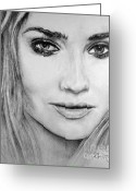 National Drawings Greeting Cards - Diane Kruger Greeting Card by Roy Kaelin