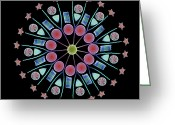 Radial Design Greeting Cards - Diatom Assortment, Sems Greeting Card by Steve Gschmeissner