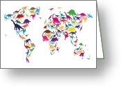Dinosaurs Greeting Cards - Dinosaur Map of the World Map Greeting Card by Michael Tompsett