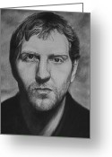 Sports Art Drawings Greeting Cards - Dirk Greeting Card by Steve Hunter