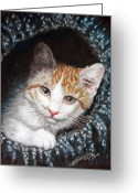 Kitten Pastels Greeting Cards - Discovery Greeting Card by Beverly Fuqua