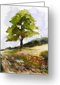 Tor Painting Greeting Cards - Distant Tor Greeting Card by Sibby S