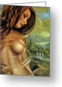 Woman Painting Greeting Cards - Diva Greeting Card by Arthur Braginsky