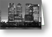 White Blocks Greeting Cards - Docklands Canary Wharf sunset BW Greeting Card by David French