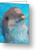 Bottle-nosed Dolphin Greeting Cards - Dolphin Greeting Card by Chris Butler