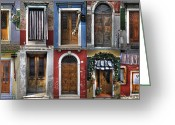 Door Greeting Cards - doors and windows of Burano - Venice Greeting Card by Joana Kruse