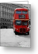 Old Street Greeting Cards - Double Decker Bus Greeting Card by Sophie Vigneault