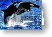 Whale Greeting Cards - Double Up Greeting Card by Emily Stauring