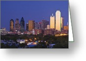 Blue Sky Photo Greeting Cards - Downtown Dallas Skyline at Dusk Greeting Card by Jeremy Woodhouse