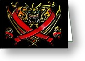 Knights Greeting Cards - Dragons Flag on Black Greeting Card by Garry Staranchuk